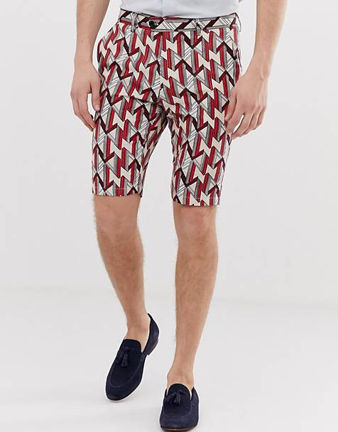 Devils Advocate slim fit printed geo linen mix shorts