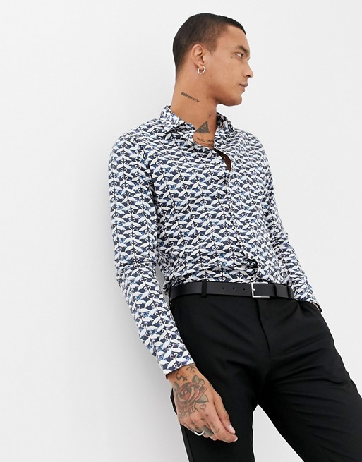 Image 1 of Devils Advocate Slim Fit Swan Print Shirt
