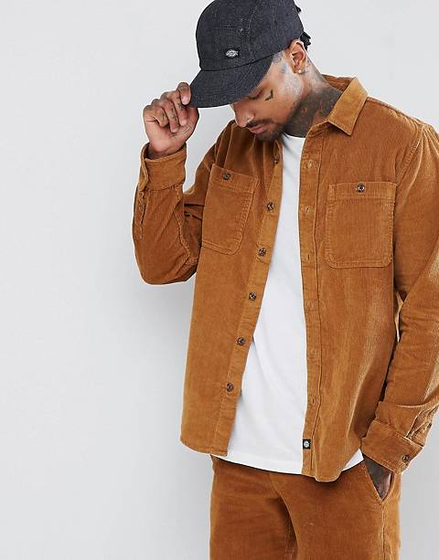 Dickies cord long sleeve shirt in brown