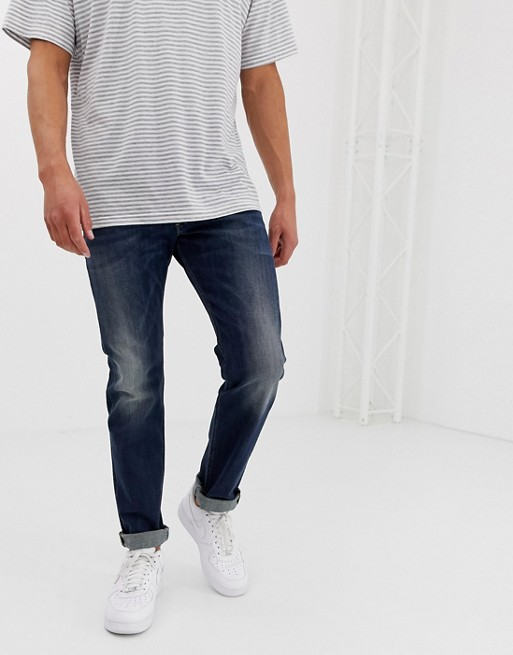 Diesel Belther regular slim fit jeans in 0814W mid dark wash