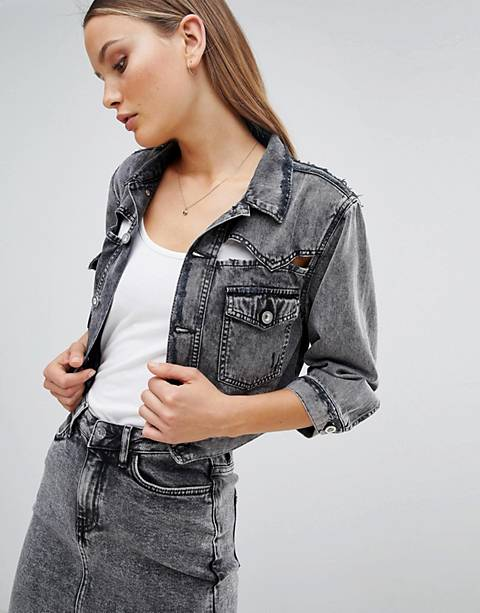 Diesel Cropped Acidwash Denim Jacket with Rips