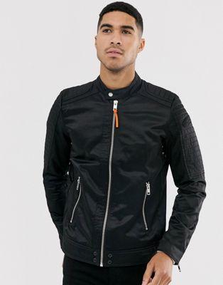Image 1 of Diesel J-Shiro nylon biker jacket in black