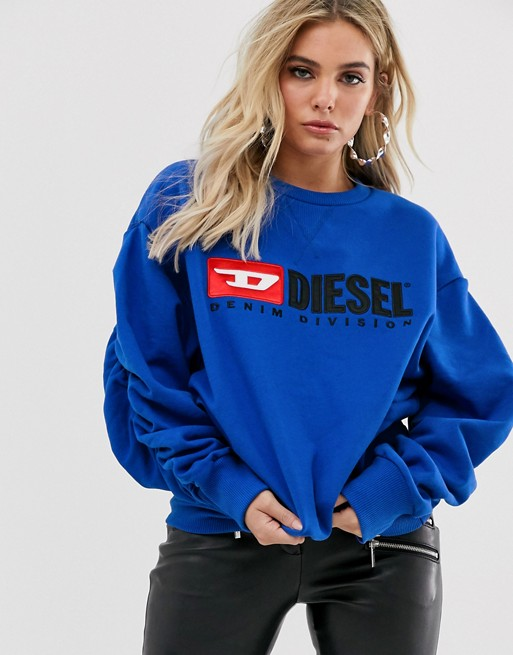Diesel logo sweater with ruched sleeves