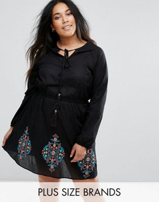 Diya Skater Dress With Embroidred Hem