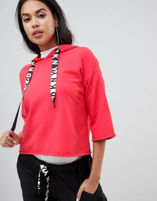 DKNY - Sweat-shirt à cordon de serrage avec logo et ourlet brut
