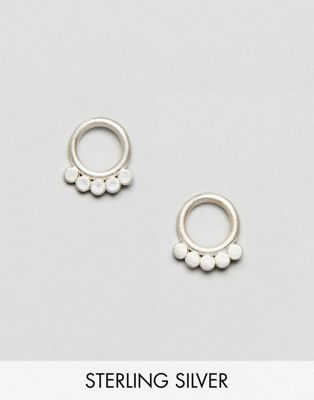 Dogeared Play It By Ear Sterling Silver Dotted Circle Stud Earrings