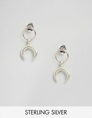 Dogeared Sterling Silver Ring With Crescent Stud Earrings