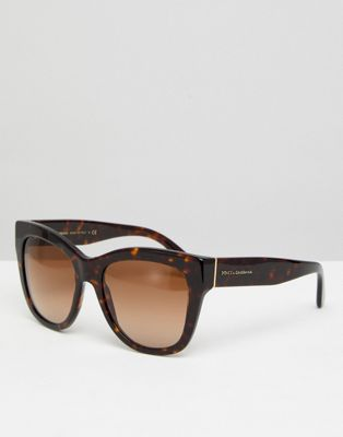 Dolce & Gabbana 0DG4270 Oversized Cat Eye Sunglasses In Tort 55mm