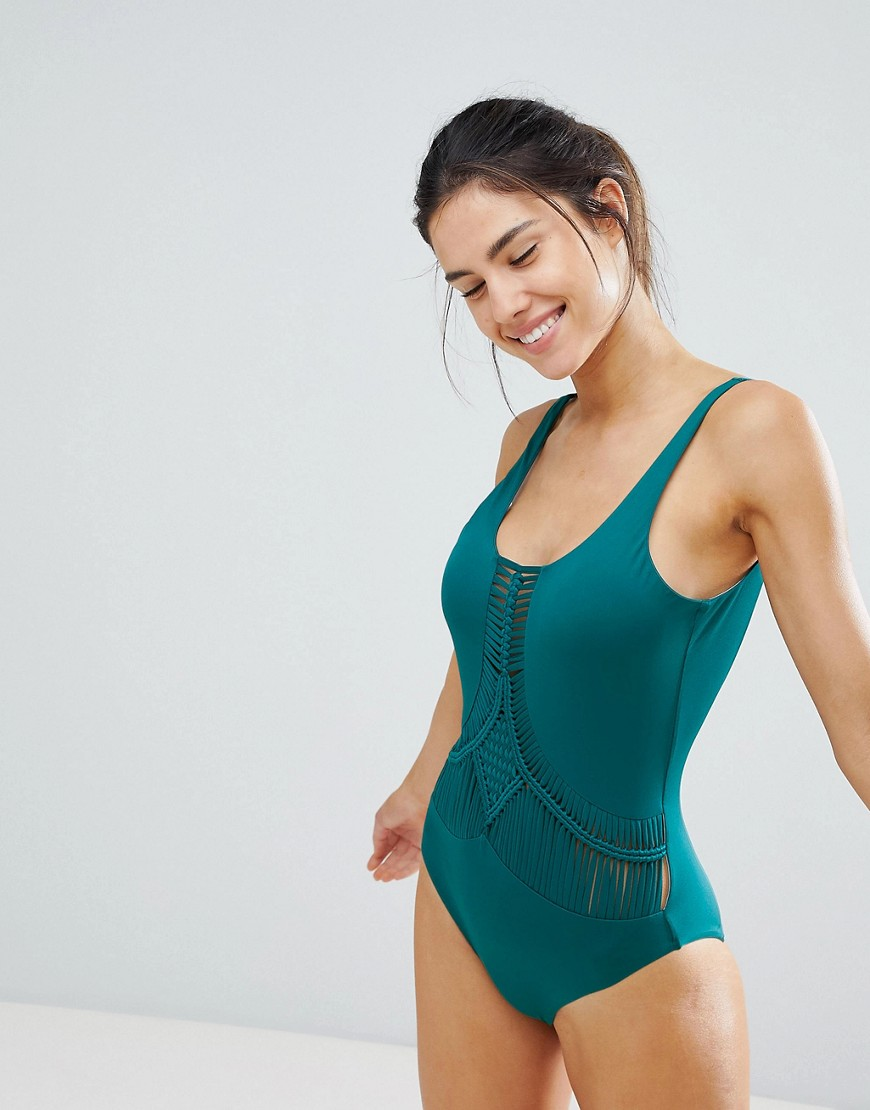 Dolce Vita Macrame Swimsuit In Jungle Green by Dolce Vita