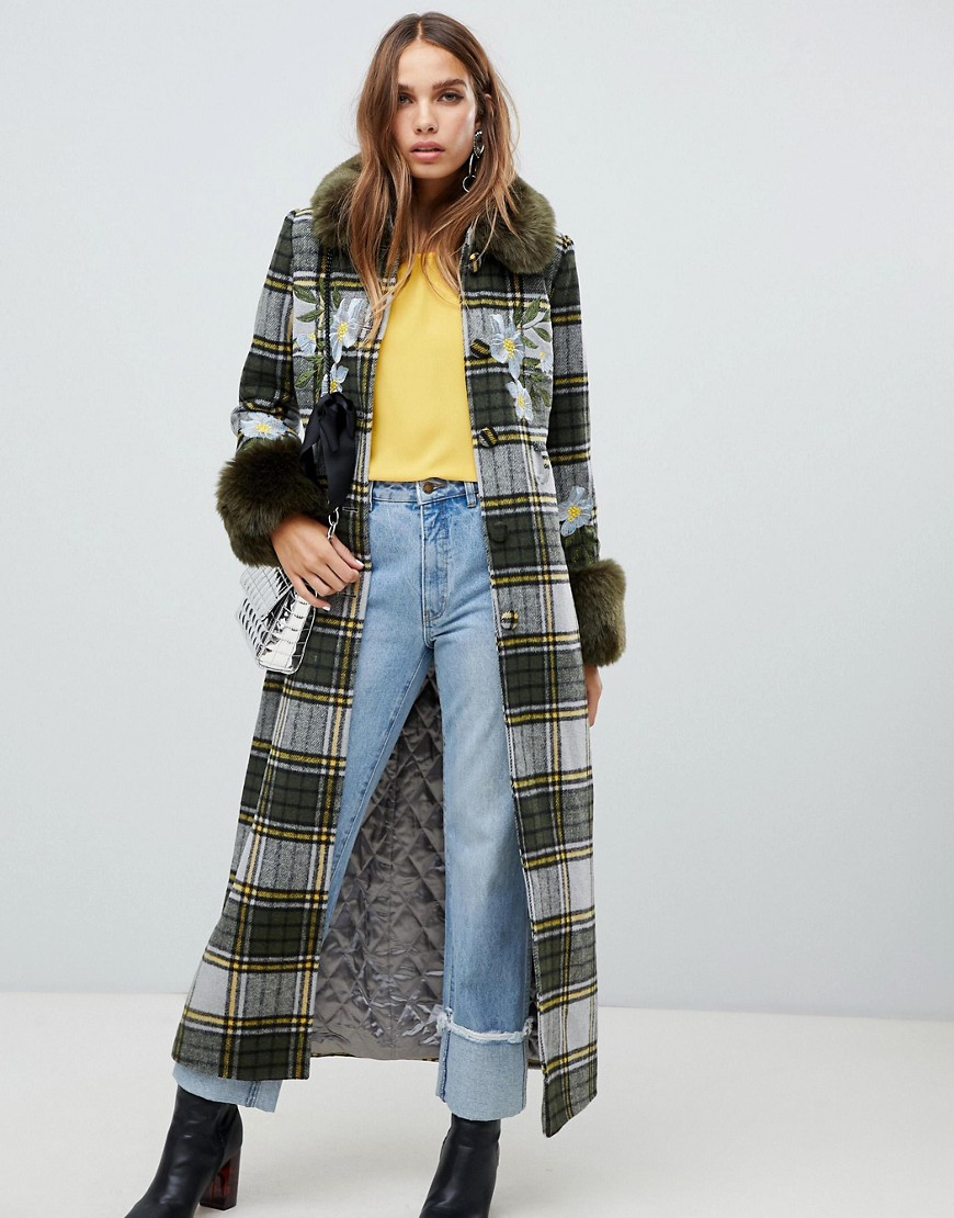 Dolly & Delicious Embroidered Check Coat With Faux Fur Trim In Khaki by Dolly Delicious