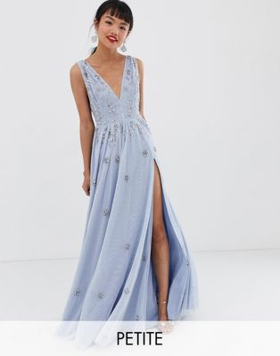 Image 1 of Dolly & Delicious Petite plunge front embellished maxi dress with high thigh split in ice blue