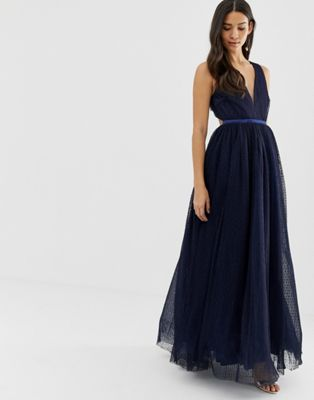 Image 1 of Dolly & Delicious plunge front prom maxi dress in navy