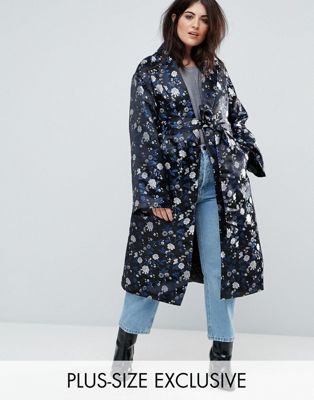 Dolly & Delicious Plus Premium Embroidered Jacquard Maxi Kimono Jacket