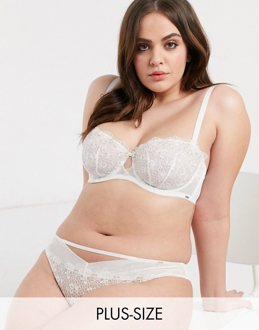 Dorina Plus Size Kalina recycled embroidered unpadded balcony bra in ivory
