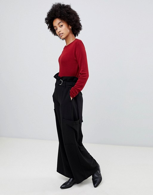 Image 1 of Dr Denim highwaisted utility trouser with belt