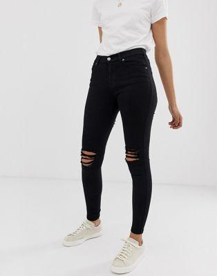 Dr Denim - Lexy - Jeans seconda pelle super skinny a vita medio alta con strappi sulle ginocchia