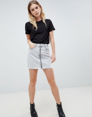 Dr Denim Mini Skirt with Exposed Zip