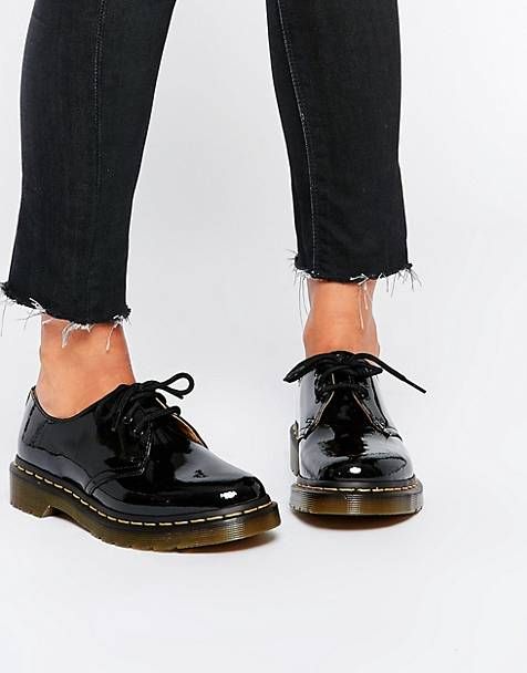 Dr Martens 1461 classic flat shoes in black patent