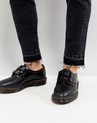 Dr Martens Henton Ghillie Shoes In Black Smooth