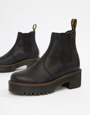 Dr Martens Rometty Black Leather Chunky Heeled Chelsea Boots by Dr Martens'
