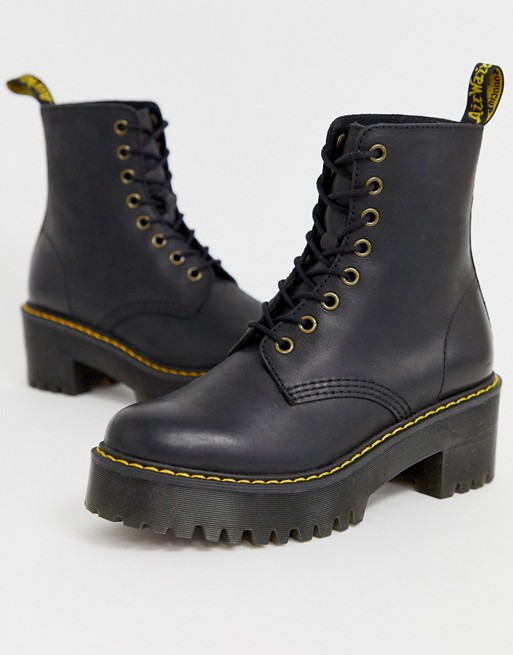 exquisite design release info on new high Dr Martens Shriver Hi Wyoming heeled ankel boots in black