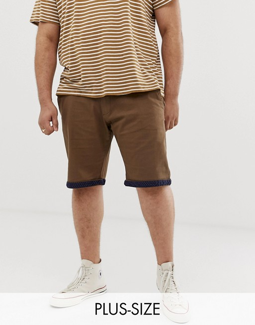 Duke King Size chino short in tan with stretch