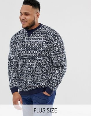 Duke King Size christmas fairisle jumper in navy