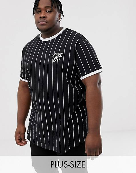 ba72e25e0 Duke King Size curved hem t-shirt in vertical black stripe