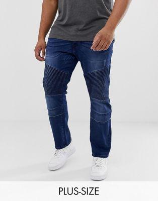 Image 1 sur Duke - King Size - Jean stretch slim avec détails style motard - Bleu marine