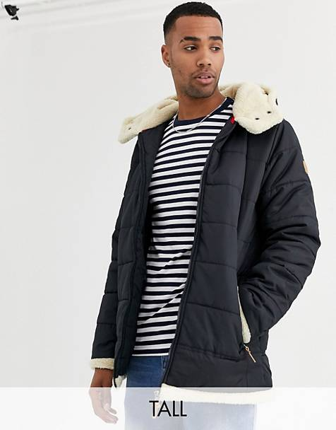Duke – Tall – Pufferjacke in Navy mit Teddyfutter an der Kapuze