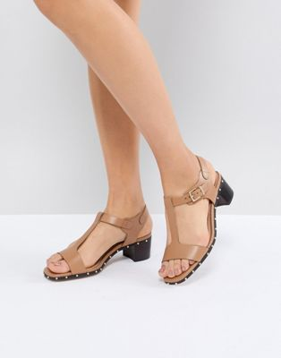Dune Leather Beige Studded Heeled Sandals