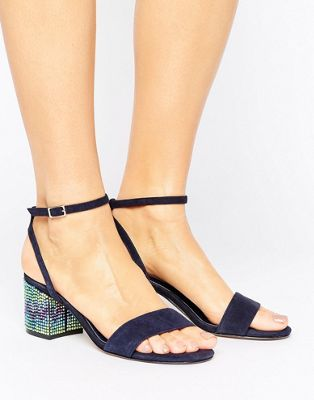Dune London Marble Suede Gem Block Heeled Sandals