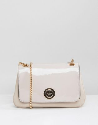 Dune Occasion Patent Cross Body Bag With Chain Detail Strap