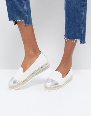 Dune Slip White Leather Espadrilles With Silver Toe Cap
