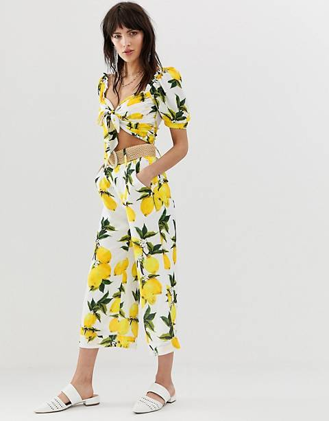 Dusty Daze high waist pants with wicker belt in lemon two-piece