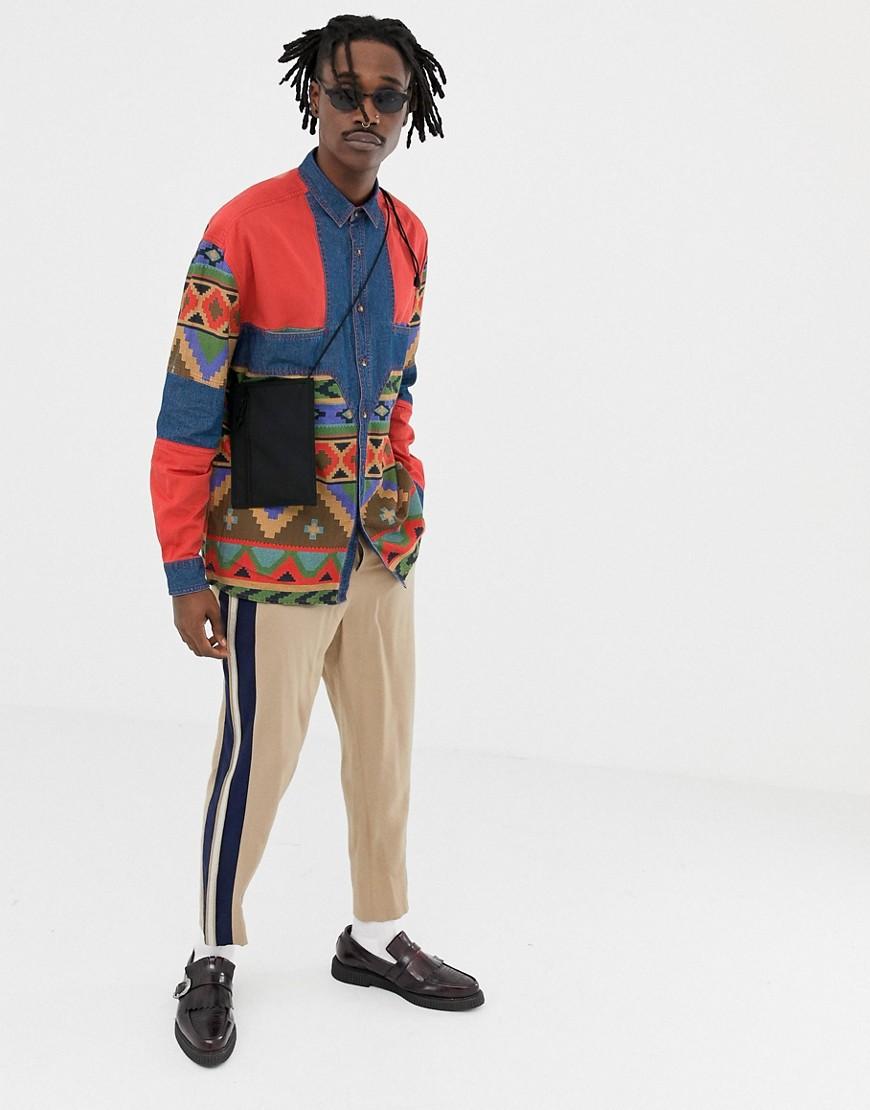 Джинсовая Oversize рубашка с ацтекским принтом на вставках Asos Design by Asos