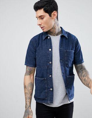 Джинсовая рубашка в полоску с короткими рукавами Nudie Jeans