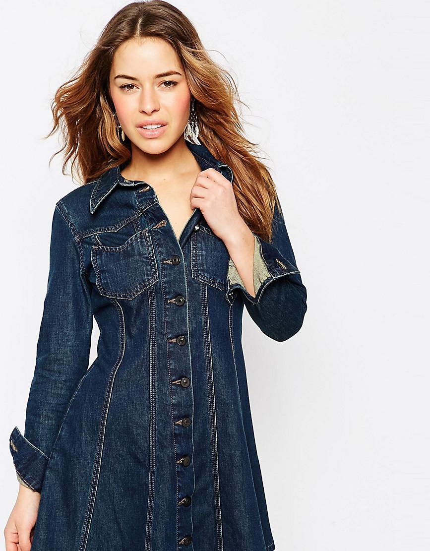 Джинсовое платье-рубашка в стиле вестерн ASOS PETITE-Синий