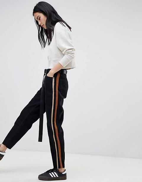 Джинсы в винтажном стиле с полосками по бокам Bershka