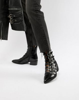 E8 By MIISTA Tuva black leather multi buckle flat boots