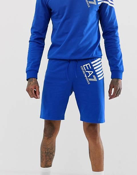 EA7 – Blaue Sport-Shorts mit grafischem Logo