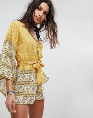ebonie n ivory Tie Waist Playsuit with Kimono Sleeves In Paisley