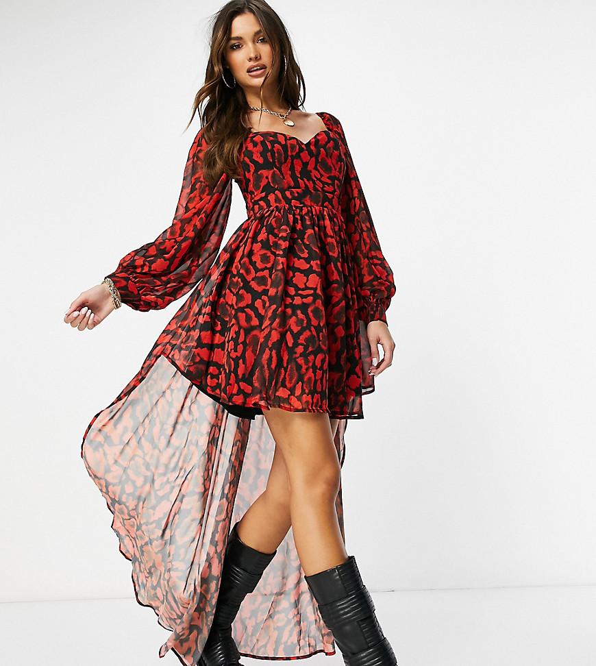 Ei8th Hour - Eksklusiv højtaljet kjole med ballonærmer og leopard-kontrast-Multifarvet