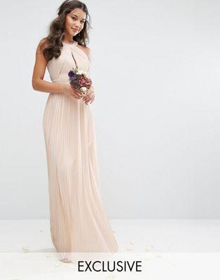 Эксклюзивное нежно-розовое плиссированное платье макси для подружки невесты TFNC
