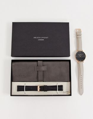 Elie Beaumont leather watch gift set