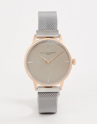 Elie Beaumont two tone mesh watch