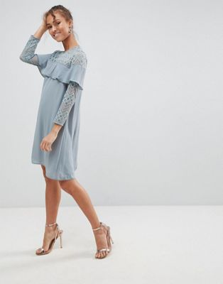 Elise Ryan Shift Dress With Ruffle Detail
