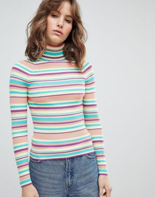 E.L.K Fitted Polo Neck Jumper In Stripe