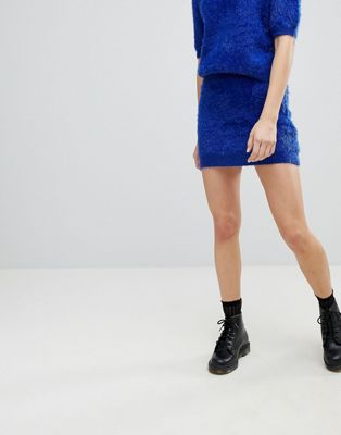 E.L.K Mini Skirt In Fluffy Knit Co-Ord
