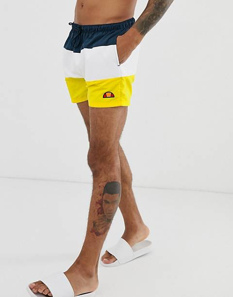 ellesse Cielo block panel shorts in yellow